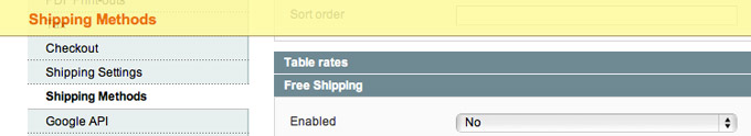Free shipping method screenshot